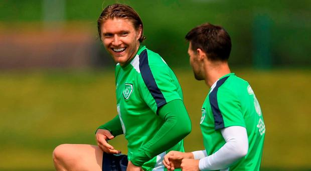 Jeff Hendrick, left, and Wes Hoolahan of Republic of Ireland during training at the National Sports Campus in Abbotstown, Dublin. Photo by Stephen McCarthy/Sportsfile
