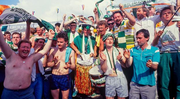 Irish supporters at the Ireland V England game, Euro 88
