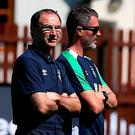 Republic of Ireland manager Martin O'Neill (left) and assistant coach Roy Keane during a training camp at Fota Island Resort, Cork. Photo: Brian Lawless/PA