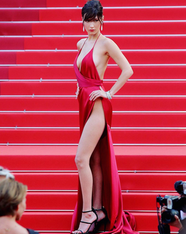 The 19-year-old model admitted that she was scared wearing the revealing gown. Photo: @bellahadid/ Instagram