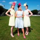 Model Louise O'Reilly (centre), a new face at the Dundrum Town Centre Ladies' Day at the RDS