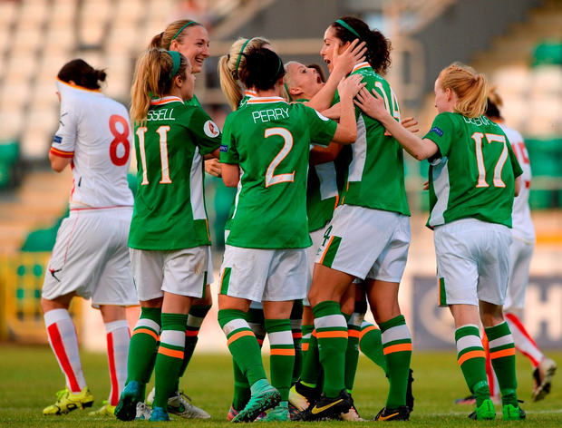 Fiona O'Sullivan, second right, of Republic of Ireland celebrates with teammates after scoring her team's nineth goal of the match. Photo: Seb Daly/Sportsfile