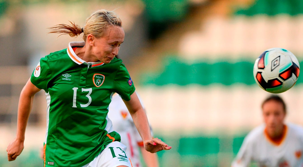 Stephanie Roche of Republic of Ireland has a headed attempt on goal. Photo: Seb Daly/Sportsfile