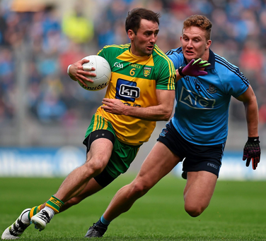 Karl Lacey in action against Ciaran Kilkenny during Donegal's defeat by Dublin in the semi-final of the Allianz League at Croke Park on April 10. Photo: Brendan Moran/Sportsfile