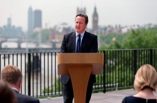 Prime Minister David Cameron giving a speech on the EU referendum at Savoy Place in London. Photo: PA