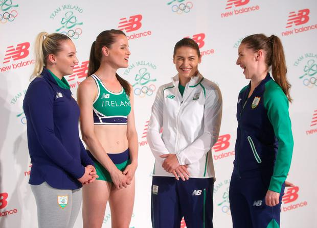Gymnast Ellis O'Reilly, runner Ciara Mageean, boxer Katie Taylor, and badminton player Chloe Magee at the official launch of the Ireland kit for the 2016 Olympics. Photo: Damien Eagers