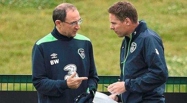 Getting ready to sign on the dotted line – Martin O'Neill and coach Steve Guppy in Abbotstown yesterday before the announcement that the Ireland management team had extended their deal with the FAI until 2018. Photo: DAVID MAHER/SPORTSFILE