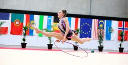 Valeria Sapteboi competing in Luxembourg last month where she was part of the Team Ireland delegation that claimed Ireland's first ever medal in a Rhythmic Gymnastics FIG tournament (Picture: Silyanov Photo)