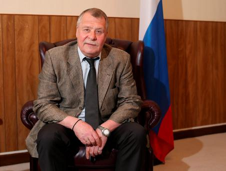 Russian Ambassador to Ireland Maxim Peshkov at the Russian Embassy in Rathgar, Dublin, yesterday Photo: Damien Eagers