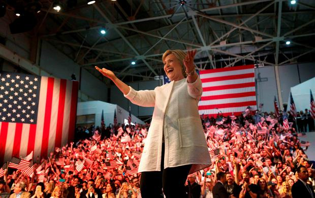 Democratic U.S. presidential candidate Hillary Clinton reacts during her California primary night rally held in the Brooklyn borough of New York, U.S., June 7, 2016. REUTERS/Shannon Stapleton