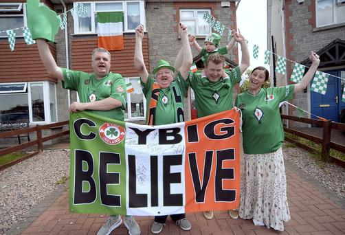 Ireland fans Andrew Whelan, 2nd from right, and his family: wife Gillian, son Charlie, 9 months, brother Martin, left, and their dad Denis. Navan, Co. Meath. Picture: Caroline Quinn