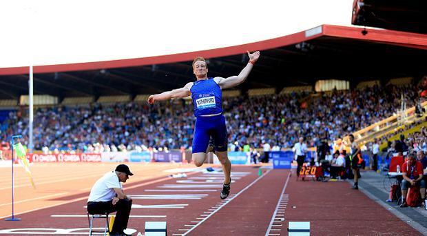 BIRMINGHAM, ENGLAND - JUNE 5: Greg Rutherford of Great Britain competes in the mens long jump during the Birmingham Diamond League Athletics meeting at Alexander Stadium on June 5, 2016 in Birmingham, England. (Photo by Stephen Pond - British Athletics/British Athletics via Getty Images)