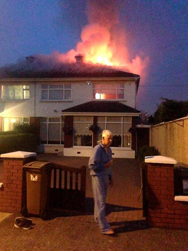A house fire that broke out in the early hours of Wednesday morning on Walnut Rise in Glasnevin. Pic:Mark Condren