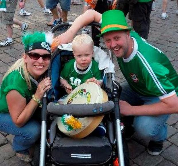 Steven Krijger with wife Muriel and son Sean in Poland at Euro 2012