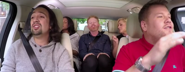 Jane Krakowski takes a back seat in Carpool Karaoke . Photo: NBC