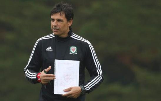 Chris Coleman jokingly revealed his own Wales line-up for their Euro 2016 opener CREDIT: REUTERS