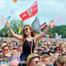 Rock on: Revellers at last year's Glastonbury enjoyed all-inclusive tents and areas.
