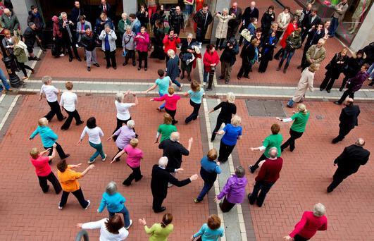 A flash mob of older people dancing on Grafton Street: Personal Future Funds could encourage people to save for retirement Photo: Mark Condren