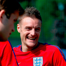 England's Jamie Vardy during a training session at Stade de Bourgognes, Chantilly Picture: PA
