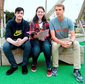Leaving Cert students David Lyons (17), from Shankhill, Rebecca Watchorn (18) from Kilmacud, and Kacper Twardowski (18), from Sandyford, at Newpark Comprehensive School after the exam Photo: Caroline Quinn