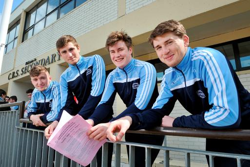 Darragh Walsh, Michael Lewis, Kieran O'Doherty and John O'Donoghue after the English exam at Mitchelstown CBS, Co Cork Photo: Daragh McSweeney