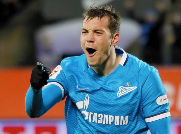 At 6ft 5ins, the Zenit St Petersburg forward Artem Dzyuba has been pinpointed as the biggest weapon in Russia's armoury Picture: Getty Images