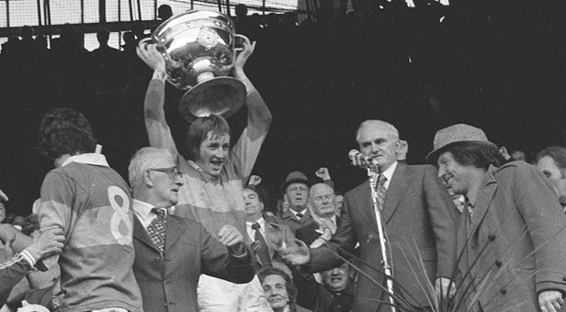 Pat Spillane deputises for injured Kerry captain Mickey 'Ned' O'Sullivan to lift the Sam Maguire in 1975 Picture: Connolly Collection/SPORTSFILE