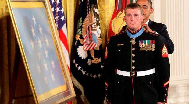Barack Obama presents Dakota Meyer with the Medal of Honour. Credit: Getty