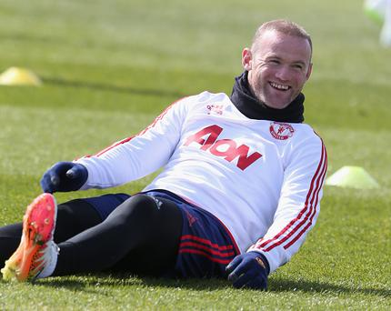 MANCHESTER, ENGLAND - APRIL 22: (EXCLUSIVE COVERAGE) Wayne Rooney of Manchester United in action during a first team training session at Aon Training Complex on April 22, 2016 in Manchester, England. (Photo by Matthew Peters/Man Utd via Getty Images)