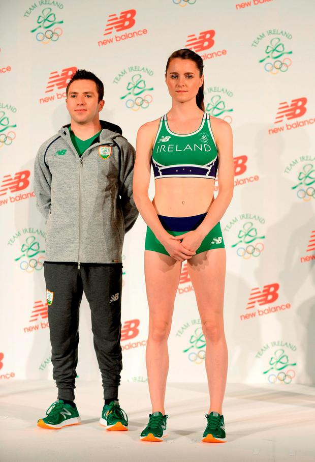 Irish Olympic team 2016 members Diver Oliver Dingley (left) and Athlete Ciara Mageean during the Team Ireland official 2016 kit launch at the Smock Alley Theatre, Dublin