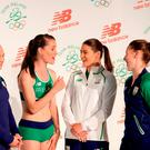 Irish Olympic team 2016 members (left-right) Ellis O'Reilly, Ciara Mageean, Katie Taylor and Chloe Magee during the Team Ireland official 2016 kit launch at the Smock Alley Theatre, Dublin