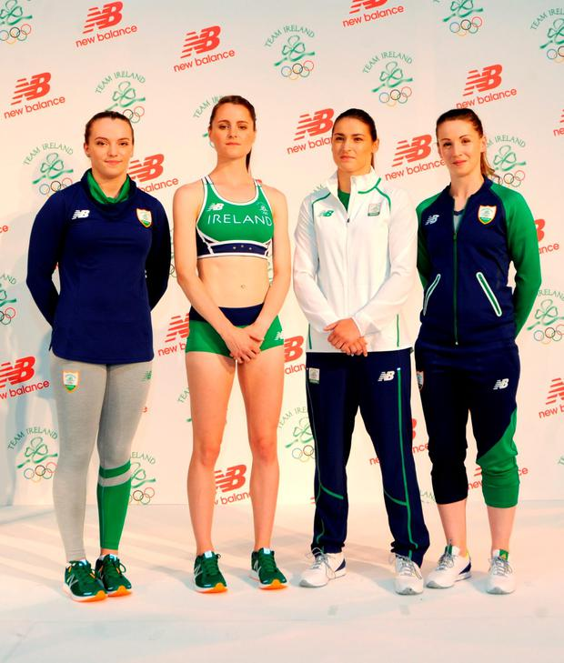 Irish Olympic team 2016 members (left-right) Ellis O'Reilly, Ciara Mageean, Katie Taylor and Chloe Magee during the Team Ireland official 2016 kit launch