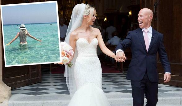 Peter Stringer and Debbie O'Leary on their wedding and inset, Debbie in Dubai
