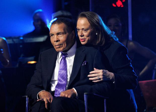 LAS VEGAS, NV - FEBRUARY 18: (EXCLUSIVE COVERAGE) Boxing legend Muhammad Ali (L) and wife Lonnie Ali appear onstage during the Keep Memory Alive foundation's