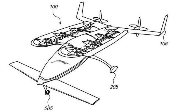 The patent Zee.Aero filed for a small flying vehicle that takes off and lands vertically Credit: United States Patent Office