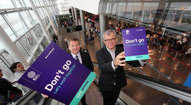 Ibec has published a detailed report, 'The impact of a possible Brexit on Irish business', on the issue. Pictured at the launch of the poster campaign are Danny McCoy, CEO, Ibec and Gerry Collins, Ibec President. Credit Gary OÕNeill