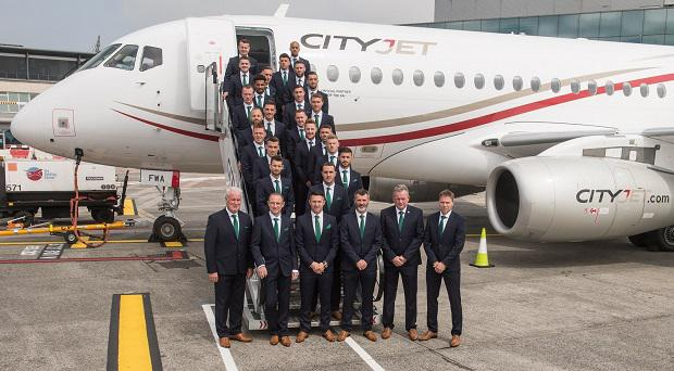 The Republic of Ireland squad and management board their CityJet flight to Paris for UEFA EURO2016 at Dublin Airport. CityJet is the official partner to the FAI