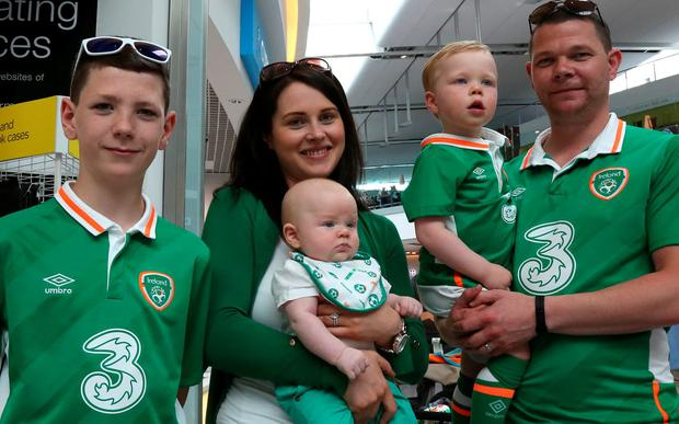 Padraig Burke, Grace McGrath her son Tommy and Conor and Husband Mark at Dublin airport. Picture: Mark McConville