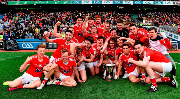 Louth players, here celebrating their Division 4 title, have been let down by their county board. Picture Credit: RAY McMANUS / SPORTSFILE