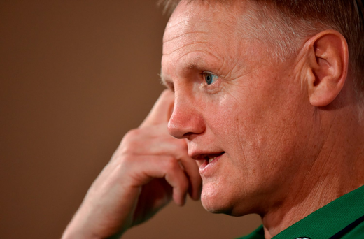 Joe Schmidt in pensive mood during the Ireland team announcement in Cape Town yesterday. Picture Credit: Brendan Moran/Sportsfile