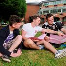 Students Niall Casey, David Grant O'Sullivan and Peter O'Brien outside Presentation College in Cork after English Paper 2. Photo: Daragh McSweeney