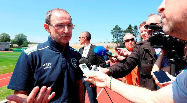 Republic of Ireland manager Martin O'Neill speaks with the media after a training session at the Stade de Montbauron, Versailles yesterday