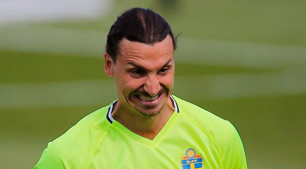 Sweden's Zlatan Ibrahimovic during training. REUTERS/Stephane Mahe