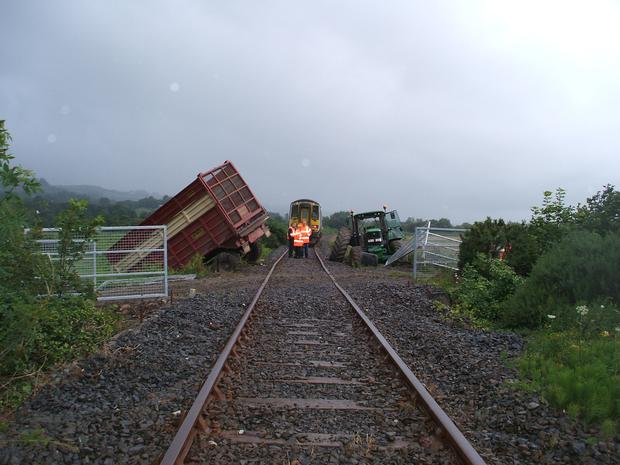 A trailer which was struck by a train