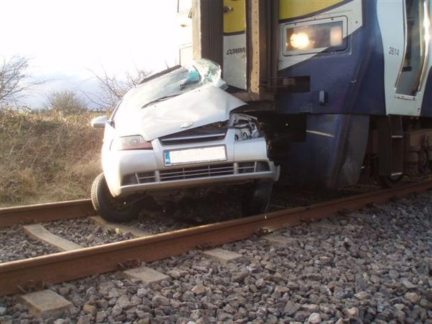 A car which was struck by a train