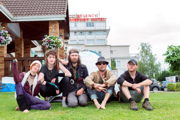 Neta Teba, Aoife Kavanagh, Rolf Lolisson, Francis Murphy and Philip O'Brien of the Grangegorman squat show solidarity with the evicted families outside the Regency Hotel. Photo: Tony Gavin 10/6/2016