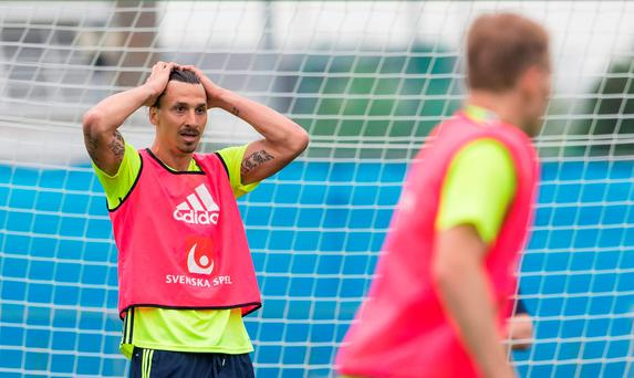Sweden's forward and captain Zlatan Ibrahimovic (L) reacts during a training session at their training ground in Saint-Nazaire today