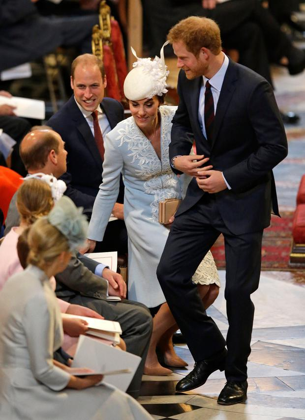 Prince William, Duke of Cambridge, Catherine, Duchess of Cambridge and Prince Harry arrive for a service of thanksgiving for Queen Elizabeth II's 90th birthday at St Paul's cathedral on June 10, 2016 in London, United Kingdom. (Photo by Matt Dunham - WPA Pool/Getty Images)