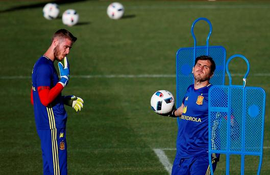 David de Gea in training for Spain