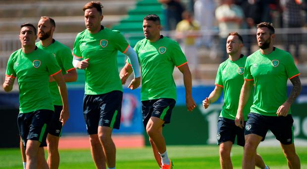 Ireland players, from left to right, David Meyler, Stephen Ward, Richard Keogh, Jonathan Walters, Aidan McGeady and Daryl Murphy during squad training on Thursday